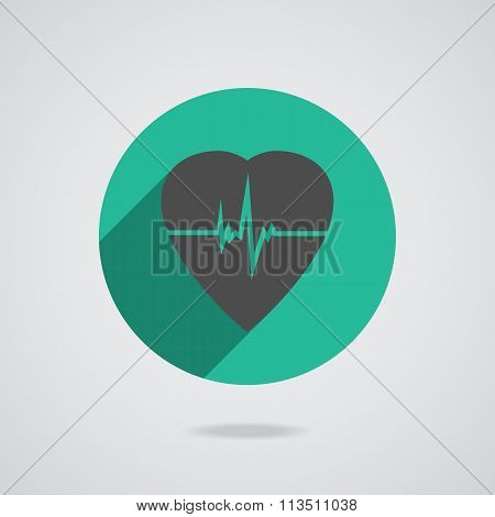 Defibrillator gray heart icon isolated on teal background illustration