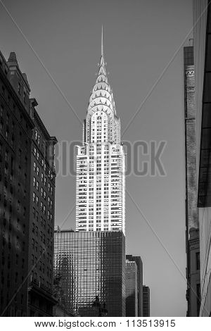 Black And White Picture Of The Chrysler Building.