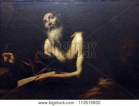 ZAGREB, CROATIA - DECEMBER 08: Jusepe de Ribera lo Spagnoletta: St. Jerome, Old Masters Collection, Croatian Academy of Sciences, December 08, 2014 in Zagreb, Croatia