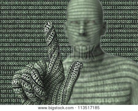 Electronic Man Pressing Virtual Computer Screen