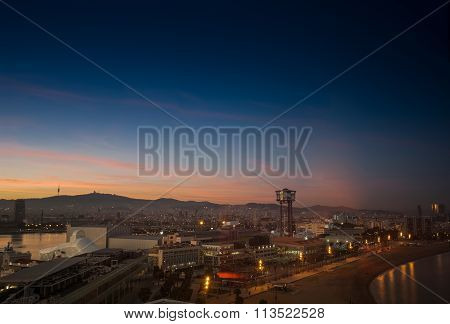 Barcelona, Spain - November 10, 2015: Aerial View Of The Vell Port Of Barcelona And Barceloneta Beac