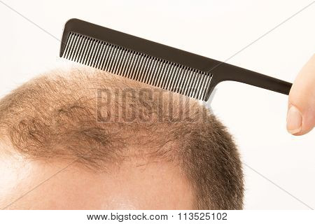 adult man hand holding comb on bald head