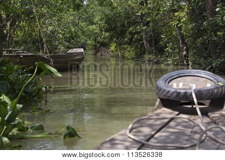 Tropical River With Trees On Both Shores