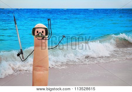 Diver With Harpoon Gun On The Beach