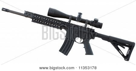 Isolated assualt rifle that is black with an adjustable stock poster