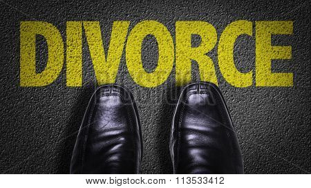 Top View of Business Shoes on the floor with the text: Divorce