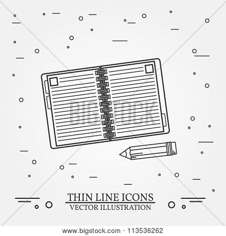 Notebook And Pencil Thin Line Design.notebook And Pencil Pen Icon. Notebook And Pencil Pen Icon.