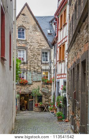 Pedestrian Street In Beilstein On River Mosel, Germany