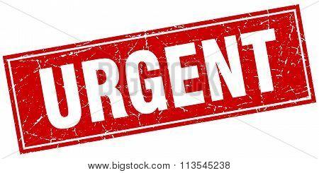 Urgent Red Square Grunge Stamp On White
