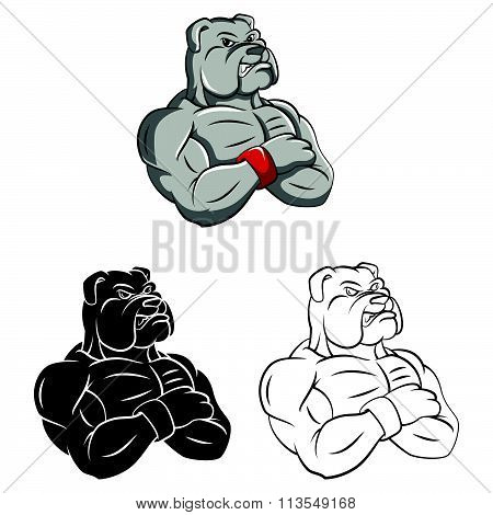 Coloring book Bulldog strong mascot cartoon character - vector illustration .EPS10