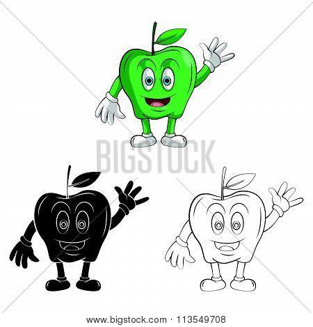 Coloring book  Apple Smile cartoon character .eps10 editable vector illustration design
