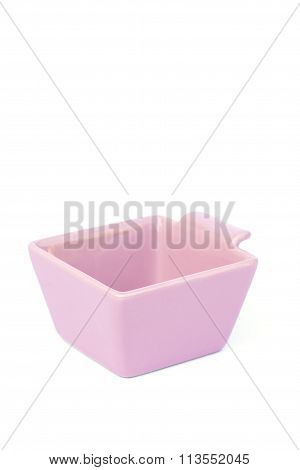 Pink Ceramic Bowl Isolated On White Background