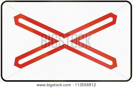 Road Sign Used In Slovakia - Warning Cross For Single Track Level Crossing