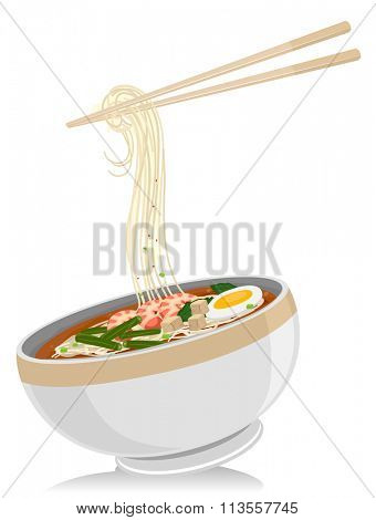 Illustration of a Bowl of Laksa Noodles with a Pair of Chopsticks Hanging Above It