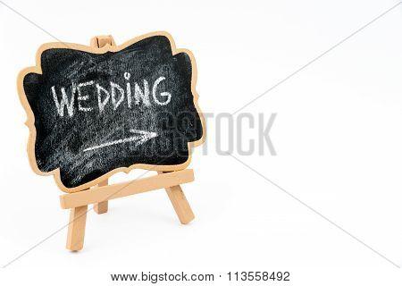 Wooden Easel Mini Blackboard With Text Wedding