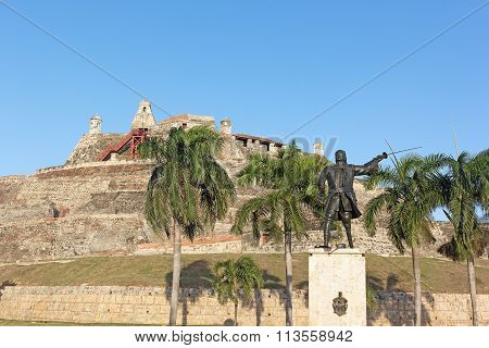 San Felipe de Barajas fortress at sunset in Cartagena Colombia.