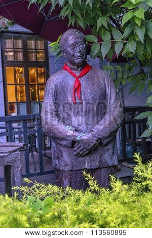 Writers Stautue Pioneer Scarf Old Duolon Cultural Road Hongkou District Shanghai China