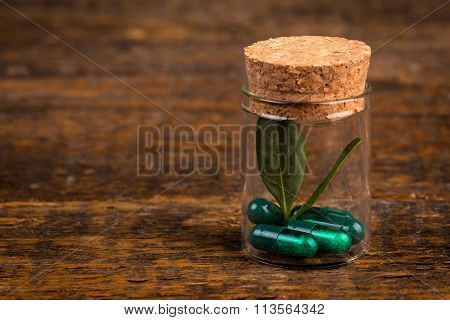 Alternative Homeopathic Medicine In Glass Container