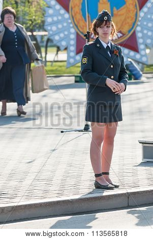 Young policewoman - sergeant protects an order