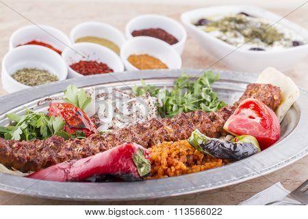 Turkish, Arabian and Greek Traditional Special cultural Food Kebab Adana, Urfa, Beyti, Abbaganus, So