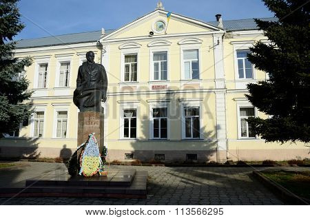 statue of Ukrainian national and independence movement leader - Stepan Bandera in Stryi,Ukraine