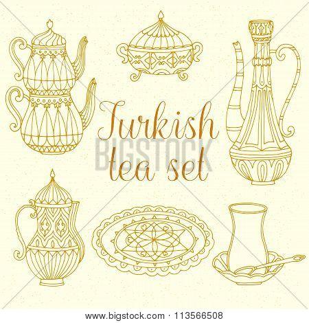 Vector turkish tea set