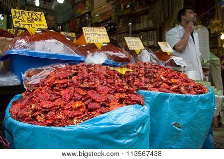 Sundried Tomatoes On Sale In The Egyptian Market In Istanbul, Turkey