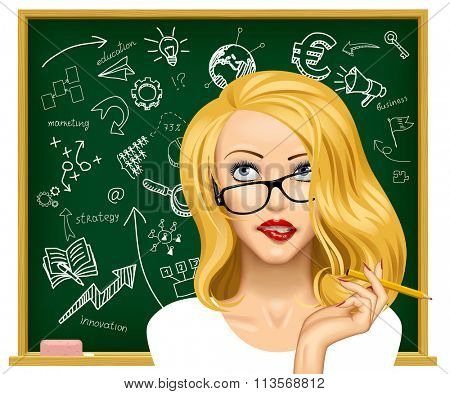 Face of a pretty blonde business woman in glasses looking up and biting her lips near the blackboard with hand drawn business icons
