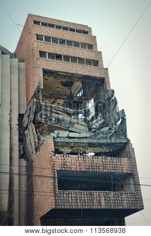 Exterior shot of former Yugoslav Ministry of Defence bombed on 7th May 1999 during Operation Allied