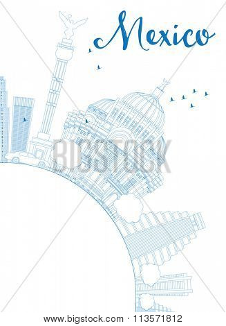 Outline Mexico skyline with blue landmarks and copy space. Business travel and tourism concept with historic buildings. Image for presentation, banner, placard and web site.