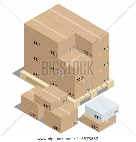 Group of stacked corrugated cardboard boxes on wooden shipping pallets