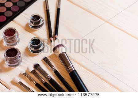 Makeup Brushes And Eyshadows. Makeup Artist's Set