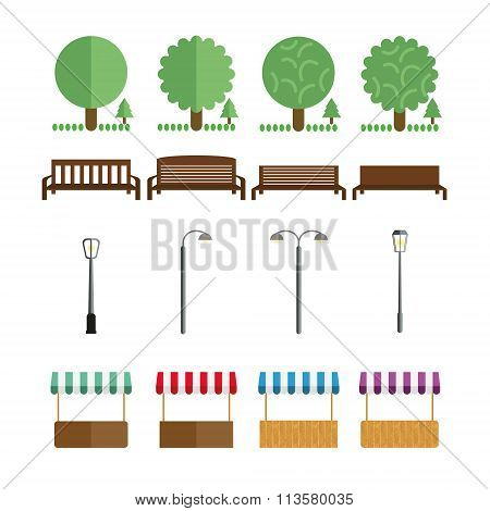 Elements Of The Park, Benches, Lights, Market Tent, Shall In Different Colors