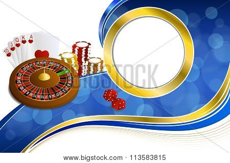 Background abstract blue gold casino roulette cards chips craps frame gold illustration vector