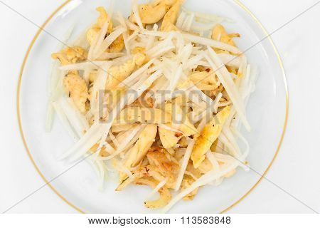 Dietary Salad from Daikon and Chicken. Health Food.