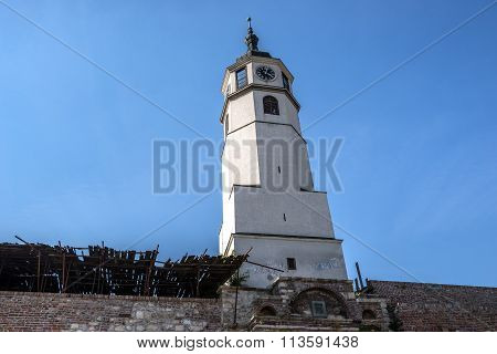 clock tower in Belgrade Fortress in Serbia poster