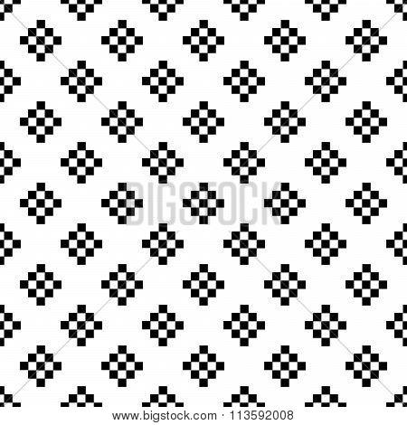 Pixel art tribal ethnic seamless pattern.
