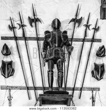 Medieval Armor Exposed With Metal Halberds.