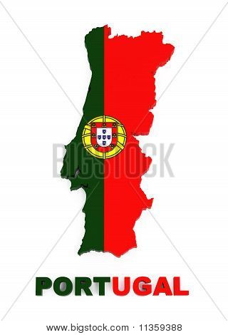 Portugal, Map with Flag, Isolated on White, with Clipping Path