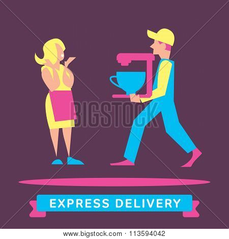Express delivery vector illustration. Delivery boy. Express delivery situation. Express delivery package. Post service, order. Symbol of express delivery. Shipping. Delivery goods, shipping service. Express delivery sign. Delivery service. Delivery man.