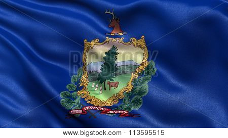 US state flag of Vermont with great detail waving in the wind.