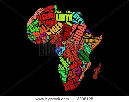 African countries Map in Typography word cloud