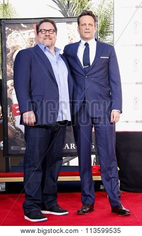Jon Favreau and Vince Vaughn at Vince Vaughn Hand-Footprints Ceremony held at the TCL Chinese Theatre in Los Angeles, USA on March 4, 2015.