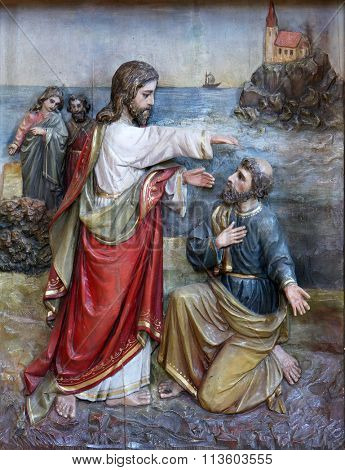 STITAR, CROATIA - AUGUST 27: Jesus reinstates Peter to leadership of the church, altarpiece on altar of Our Lady in the church of Saint Matthew in Stitar, Croatia on August 27, 2015
