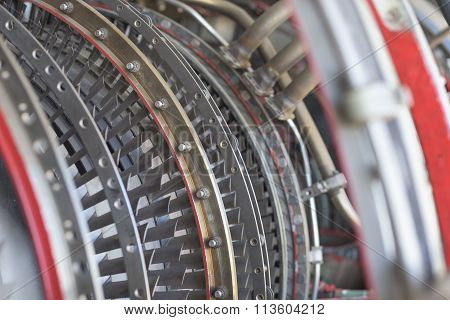 Airplane turbine mechanism close up