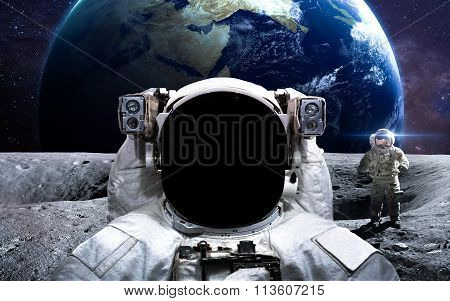 Brave astronaut at the spacewalk. This image elements furnished by NASA. poster