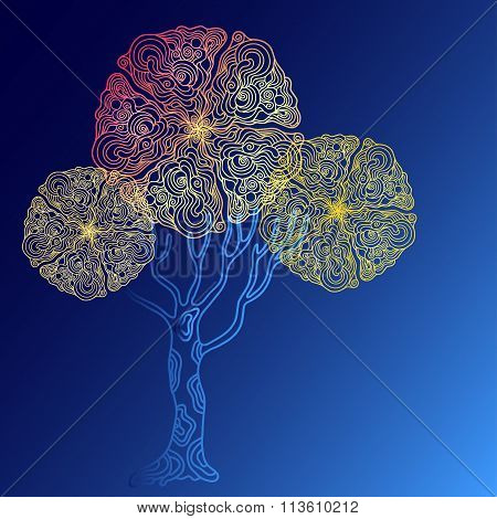 Abstract Different Colour Doodle  Tree On Blue Background