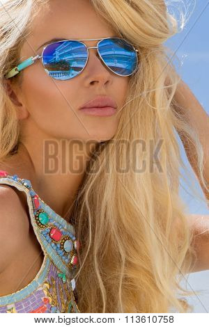 Beautiful Blond Hair Sexy Woman Young Girl Model In Sunglasses And Elegant Color Swimsuit With Cryst