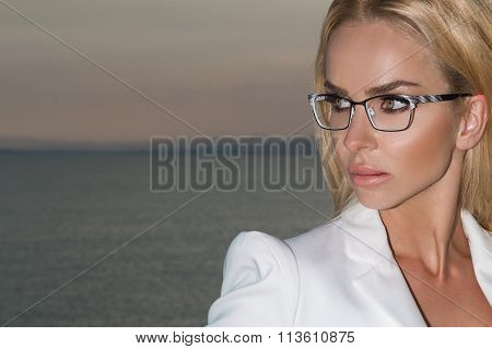 Beautiful Blond Hair Sexy Woman Young Girl Model In Sunglasses In White Elegant Jacket, Suit Around