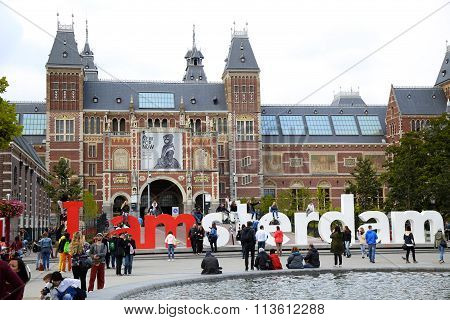 Amsterdam, The Netherlands - August 18, 2015: View On Rijksmuseum (national State Museum) With Words